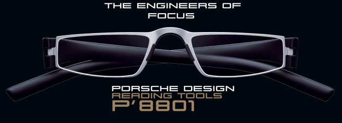 Porsche Design +2.00 Lens Lightweight Reading Tool P'8801 Titanium Mat Frame Matt Black sides