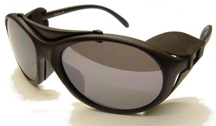 Norville Glacier Black Sunglasses/Grey Silver Mirror polycarb lens detachable rubber side shields