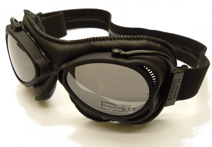 nannini Snowfighter Black Leather Sunglasses/Ski Goggles Grey Silver Mirror polycarb lens
