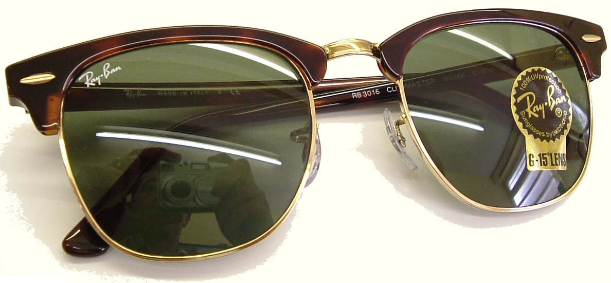 Gold Color Frame Sunglasses : Ray Ban Clubmaster Sunglasses, Gold Color Frame Brown Trim ...