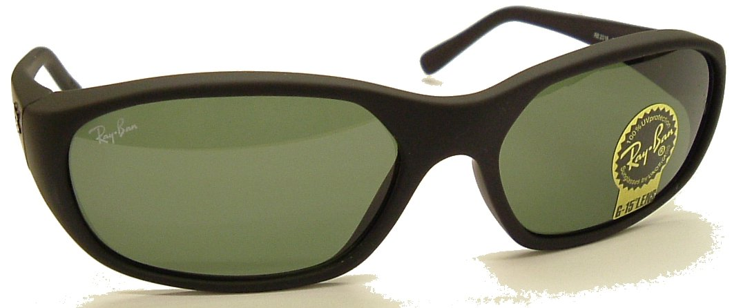 Ray Ban Daddy O Square Wrap Sunglasses Model 2016 Black/Ray Ban G15 Safety GLASS Lens