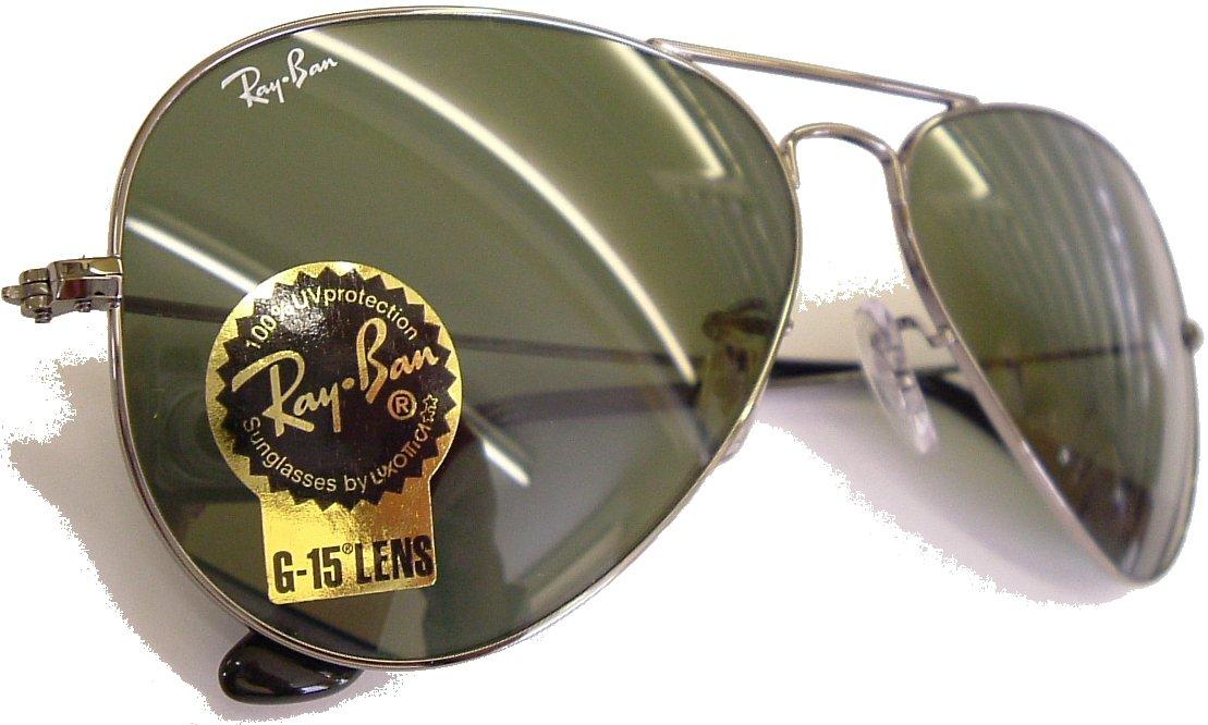 Ray Ban Large Metal Aviator Sunglasses Model 3025,Gunmetal Frame, G15 Glass Safety Lenses 58mm size