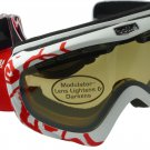 Bollé Ski Goggles Y6 OTG in White/Red Print with PHOTOCHROMIC lens