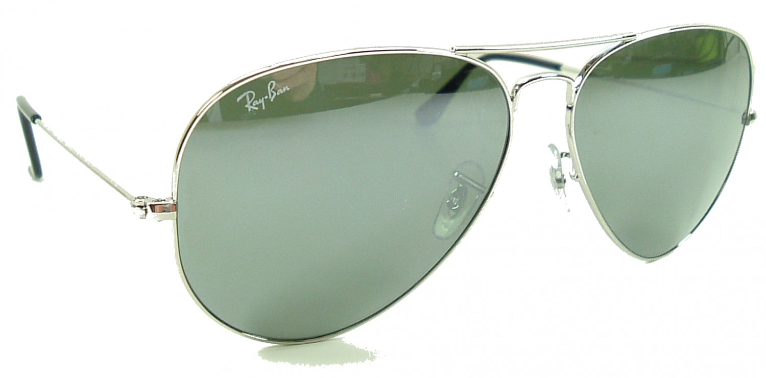 Ray Ban Large Metal Aviator Sunglasses 3025 Silver Frame/G31 Silver Mirror Lens - 62mm size