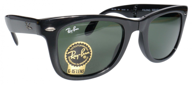 Ray Ban Folding Wayfarer Sunglasses Black Frame G15 Glass Lenses - 50mm size