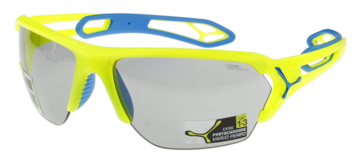 Cébé S'Track Lightweight Sunglass, Pro Neon Yellow, Photochromic Anti-Fog + Clear Lenses