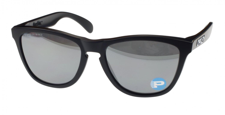 Oakley Frogskins Sunglasses, 24-297, Matte Black, Black Iridium Polarized Lens