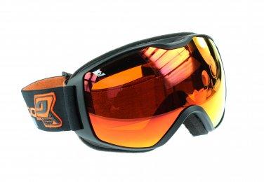 Julbo Quantum Ski Goggle Minimalist Frame, Black, Spectron 3 Orange Anti-Fog Double Lens