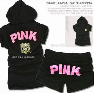 ''Pink'' Top and Shorts in Black