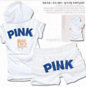 ''Pink'' Top and Shorts in White