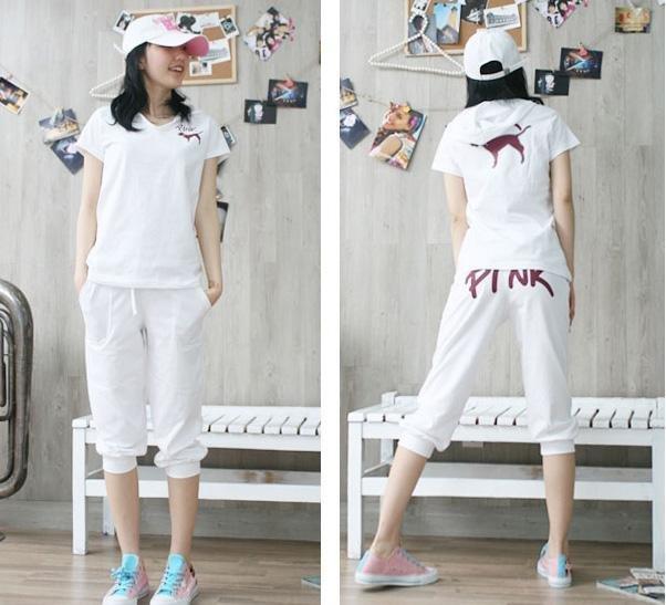 #813 White ''Pink'' Top & Capris