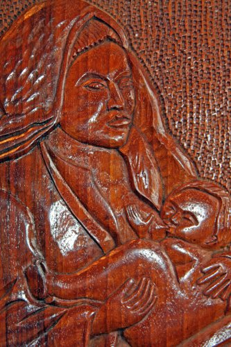 Mother breastfeeding Child Hand Carved Solid Wooden Plaque from Bulgaria