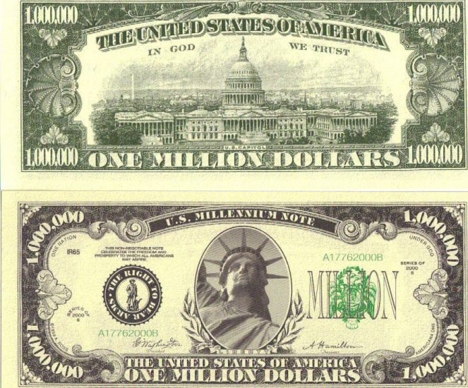 One fake Million Dollar Bill! Great in cards!