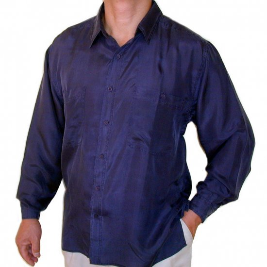 Men's Navy 100% Silk Shirt (Small, Item# 215)