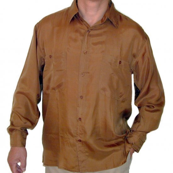 Men's Gold 100% Silk Shirt (Small, Item# 208)