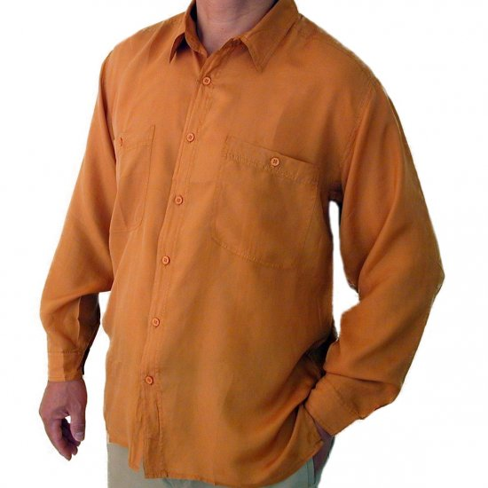 Men's Mustard 100% Silk Shirt (Small, Item# 202)