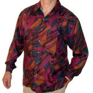 Men's Printed 100% Silk Shirt (Large, Item# 108)
