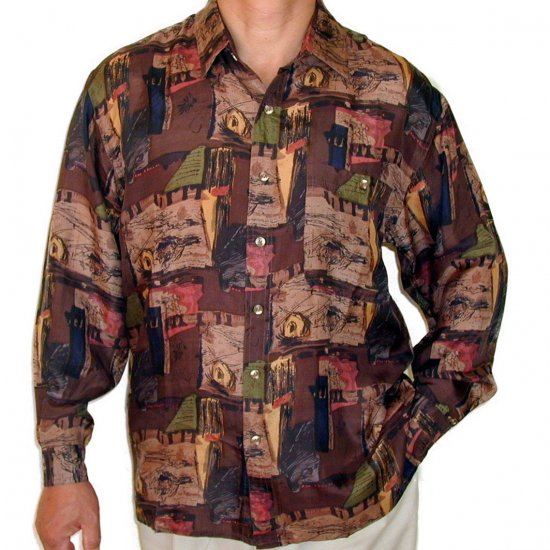Men's Printed 100% Silk Shirt (Large, Item# 102)
