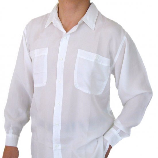 Men's White 100% Silk Shirt (Large, Item# 205)