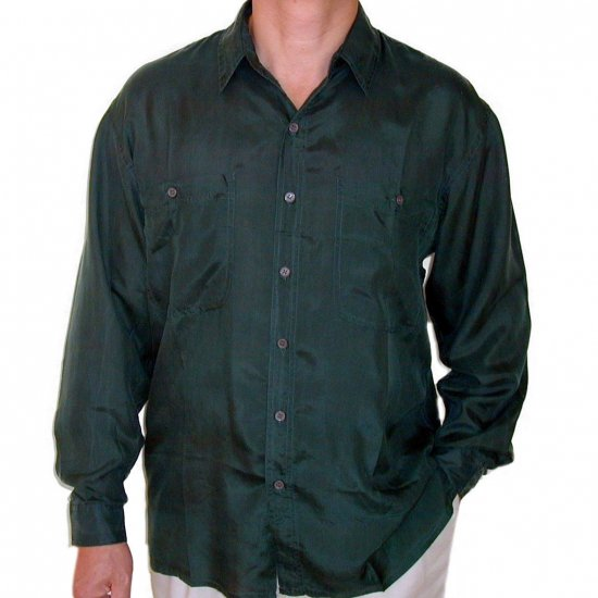 Men's Green 100% Silk Shirt (Large, Item# 204)