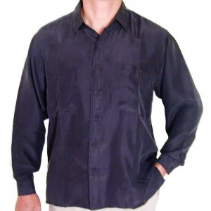 Men's Black 100% Silk Shirt (Large, Item# 203)