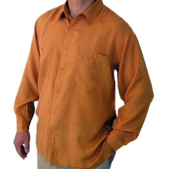 Men's Mustard 100% Silk Shirt (Large, Item# 202)