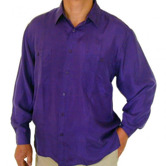 Men's Purple 100% Silk Shirt (Large, Item# 201)
