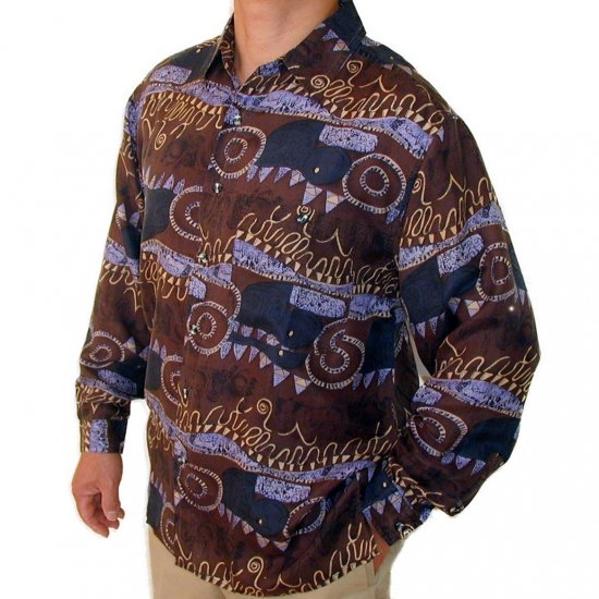 Men's Printed 100% Silk Shirt (Medium, Item 107)