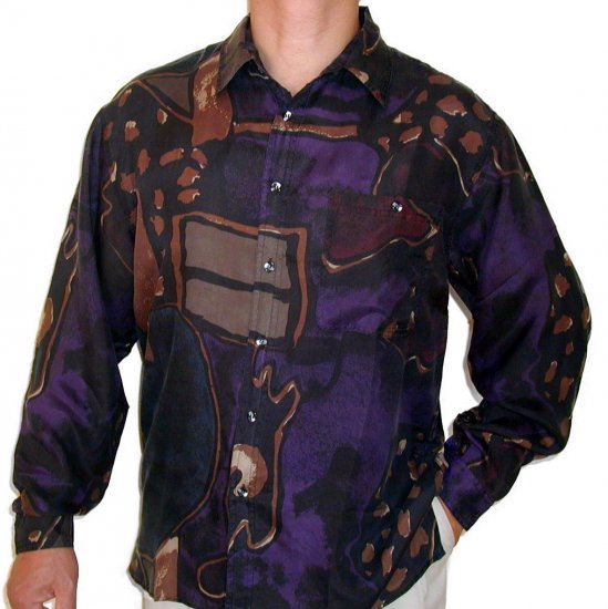 Men's Printed 100% Silk Shirt (Medium, Item# 103)