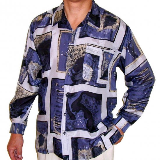 Men's Printed 100% Silk Shirt (Medium, Item# 101)