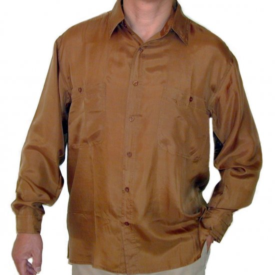 Men's Gold 100% Silk Shirt (Medium, item# 208)