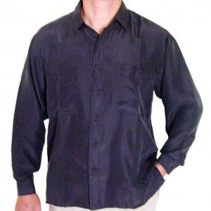 Men's Black 100% Silk Shirt (Medium, Item# 203)