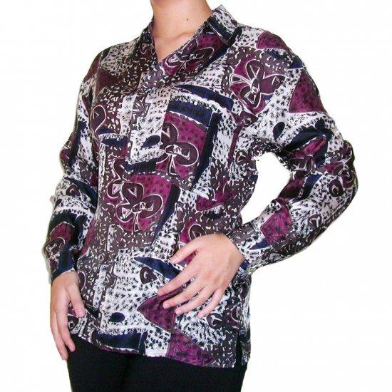 Women's Pattern 100% Silk Blouse (L, Item# 112)
