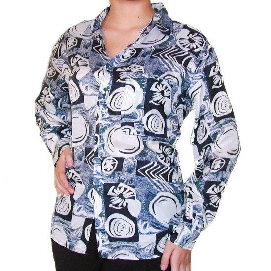Women's Pattern 100% Silk Blouse (L, Item# 111)