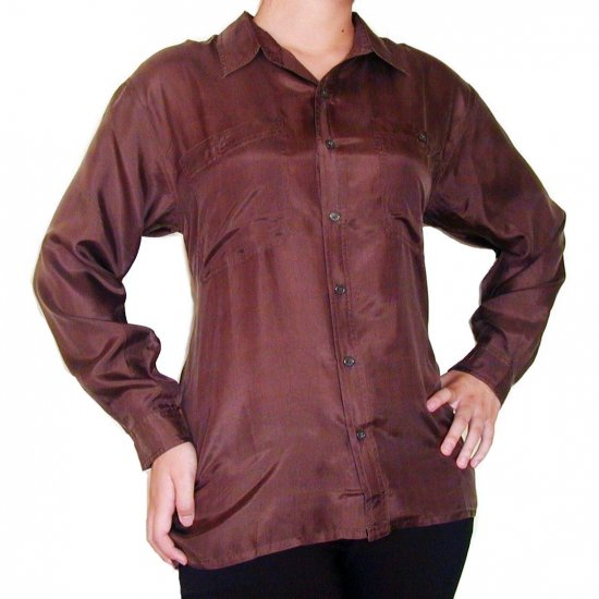 Women's Brown 100% Silk Blouse (L, Item# 209)
