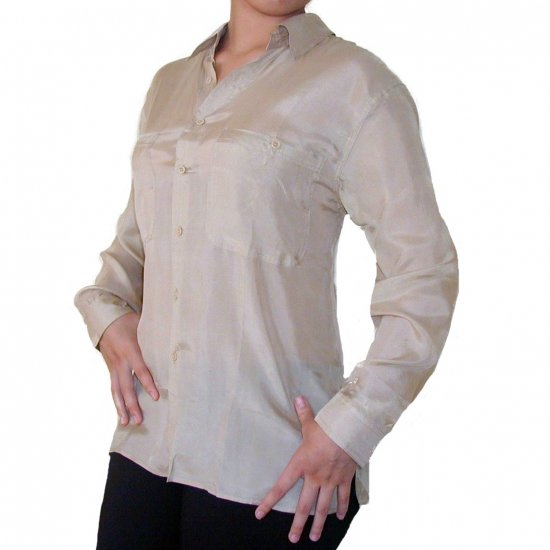 Women's Beige 100% Silk Blouse (L, Item# 207)