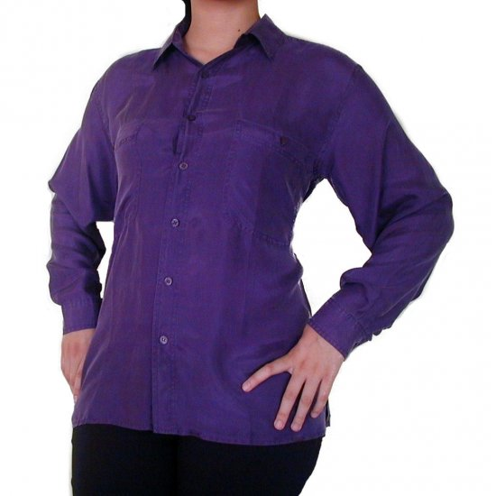 Women's Purple 100% Silk Blouse (L, Item# 201)