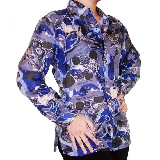 Women's Pattern 100% Silk Blouse (M, Item# 110)