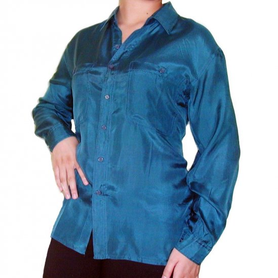 Women's Teal 100% Silk Blouse (M, Item# 210)