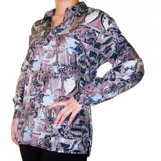 Women's Pattern 100% Silk Blouse (M, Item# 105)