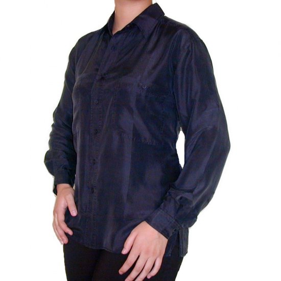 Women's Black 100% Silk Blouse (M, Item# 203)
