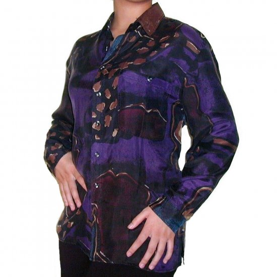 Women's Pattern 100% Silk Blouse (S, Item# 103)