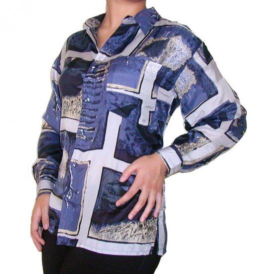 Women's Pattern 100% Silk Blouse (S, Item# 101)