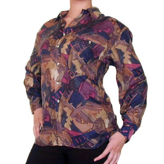 Women's Pattern 100% Silk Blouse (XL, Item# 113)