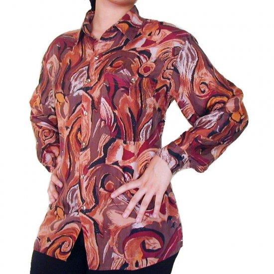 Women's Pattern 100% Silk Blouse (XL, Item# 106)