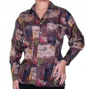Women's Pattern 100% Silk Blouse (XL, Item# 102)