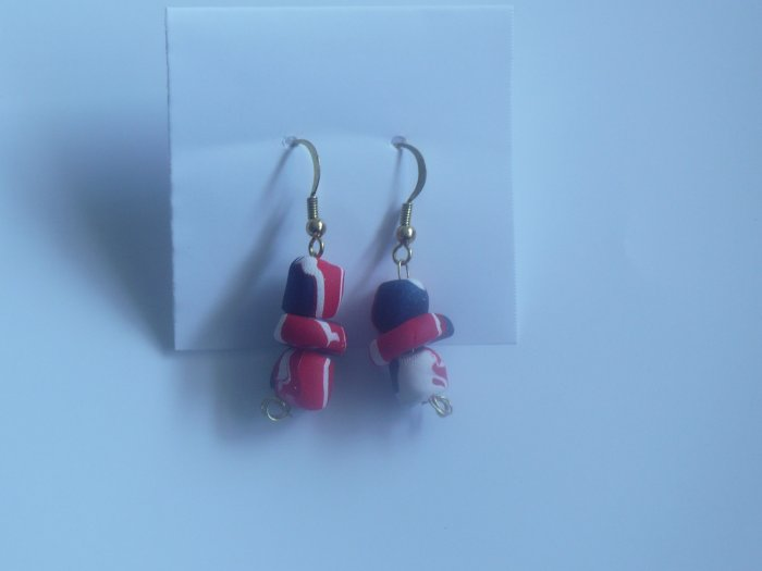 red, white ,and blue earrings match Barack Obama logo.necklace