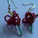 red , yellow and green flower earrings