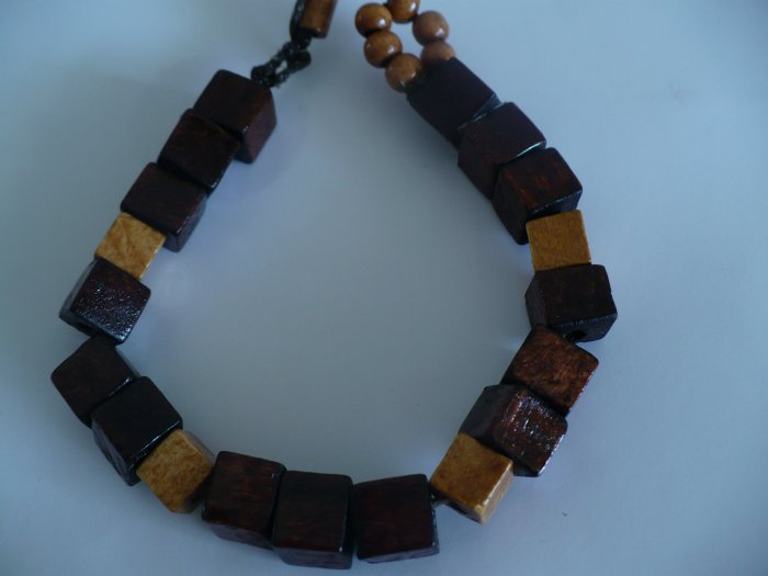 wooden bracelet with cube shaped beads