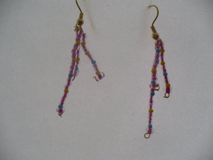 Earrings made with hotpink beads